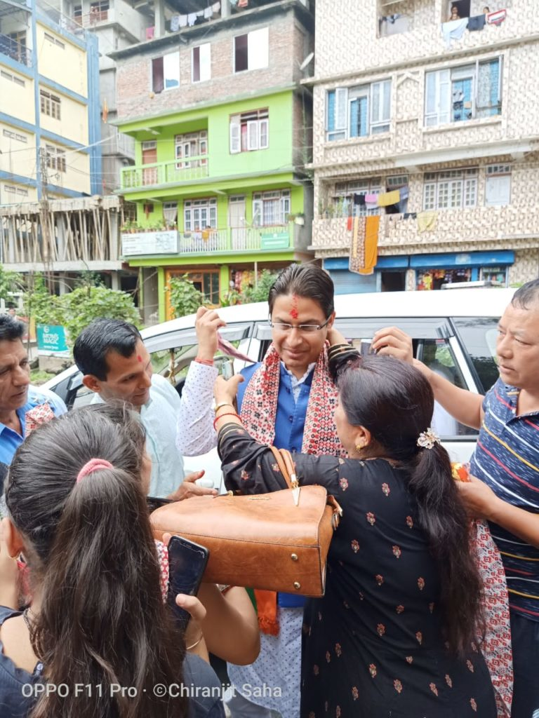 Raju Bista interacting with people in SIkkim
