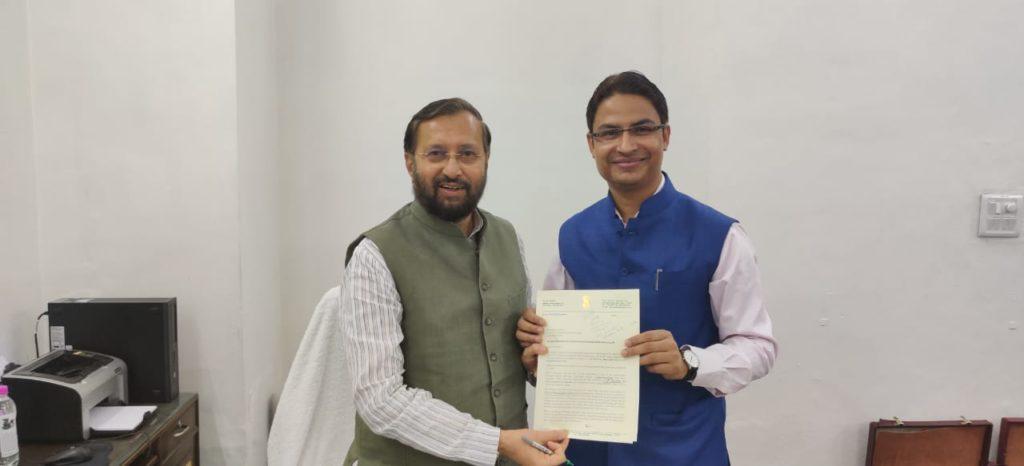 Raju Bista meeting Prakash Javadekar